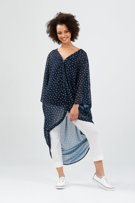 Claudia Overshirt - One Size - Navy & White Spot