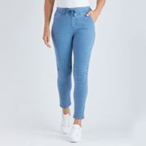 Tie Front Gathered Jeans - Blue