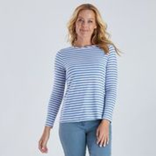 Stripe Long Sleeve Tee - Blue And White
