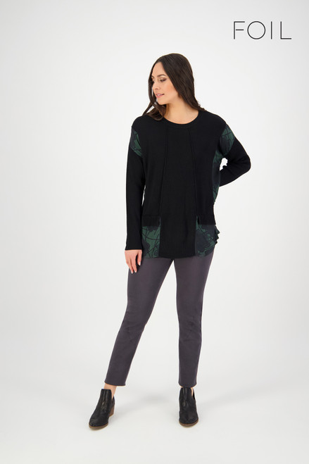Split The Difference Sweater - Black/Slate Frond