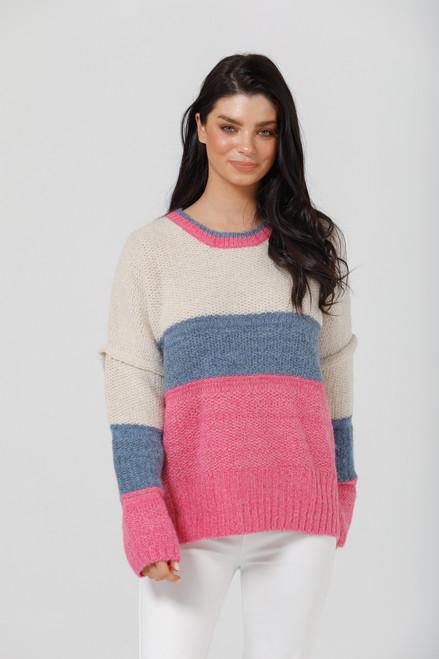 Fargo Knit - Oatmeal + Denim + Hot Pink