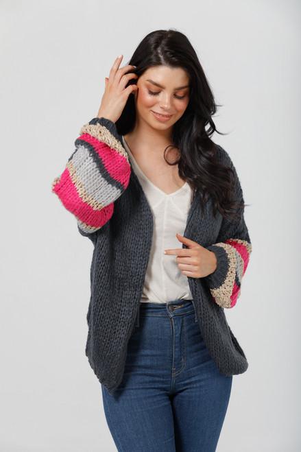 Cassidy Knit - Navy + Blue + Hot Pink