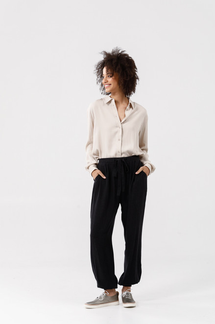 Fossick Pants - Black Tencel
