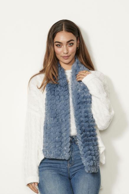 Faux Fur Scarf - Blue