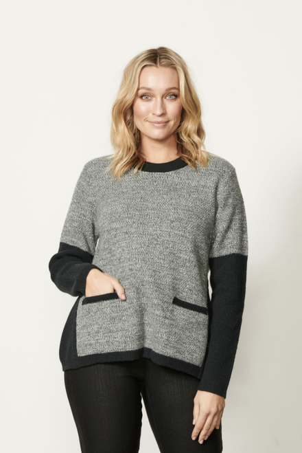 Colour Block Jumper With Rib Sleeve - Black