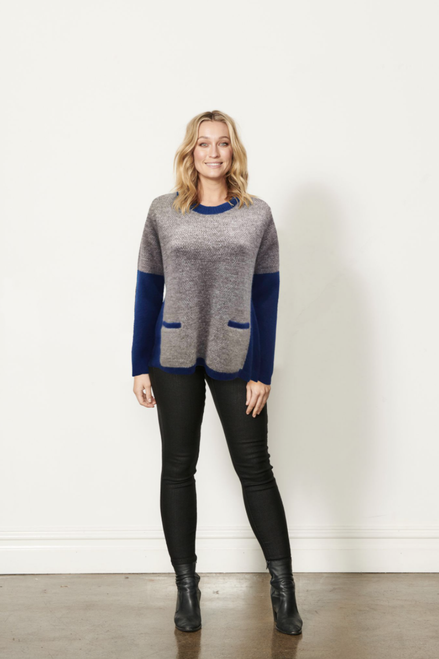Colour Block Jumper With Rib Sleeve - Blue