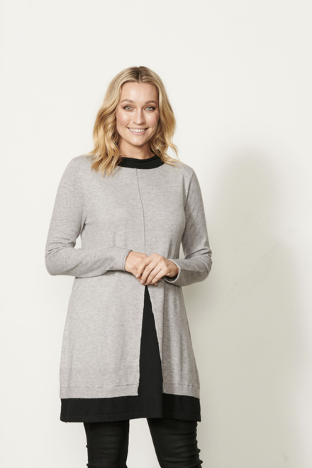 Double Hem With Front Seam Tunic - Grey Black