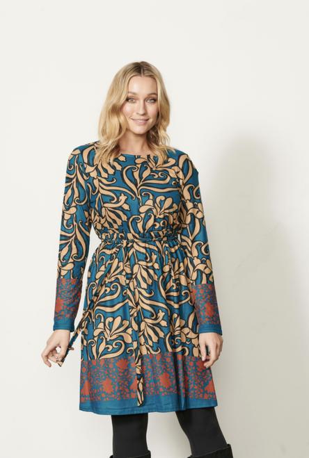Swirl Print Dress With Belt - Blue