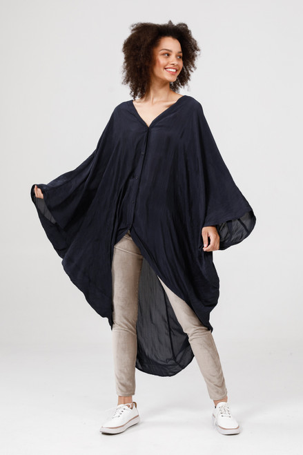 Claudia Overshirt - Midnight Blue Crinkle