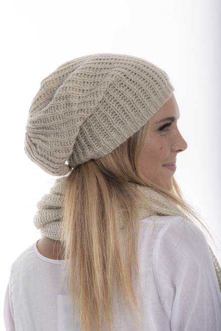 Mohair Cable Beanie - Oat