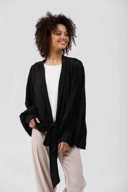 Morgan Wrap Top - Black Crinkle