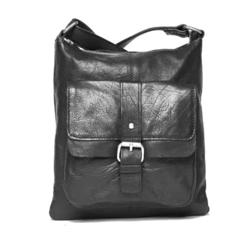 Audrina Leather Sling Bag - Black