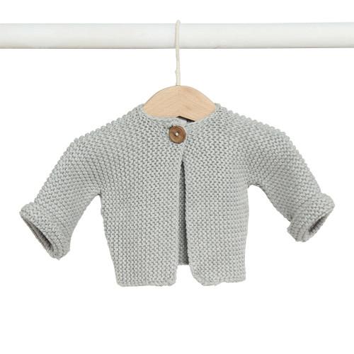Elf Garter Stitch Baby Cardi - Grey
