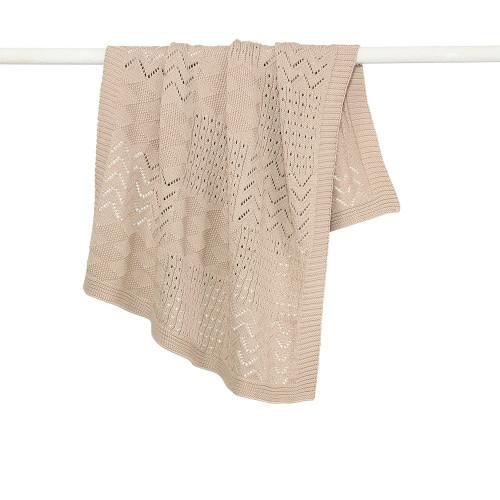 Jessie Multi Pattern Knit Cotton Bassinet Blanket - Biscuit