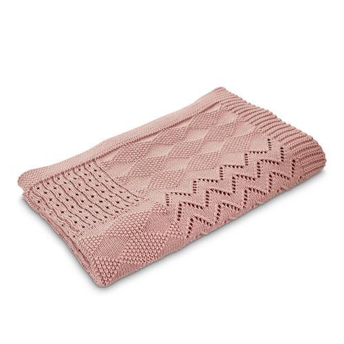 Jessie Multi Pattern Knit Cotton Bassinet Blanket - Pink