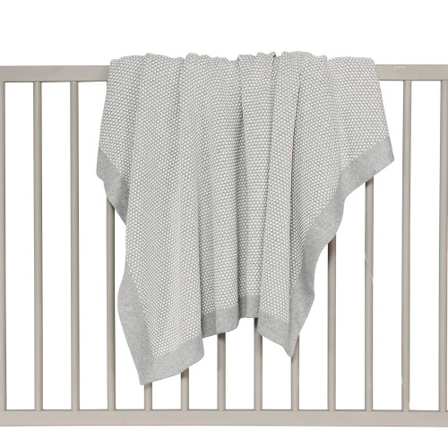 Pixie Waffle Knit Two-Tone Cotton Cot Blanket - Grey