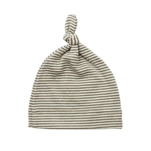 Topknot Cotton Stripe Baby Hat - Coffee