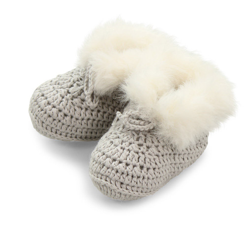 Pookie Cotton Faux Fur Bootees - Grey