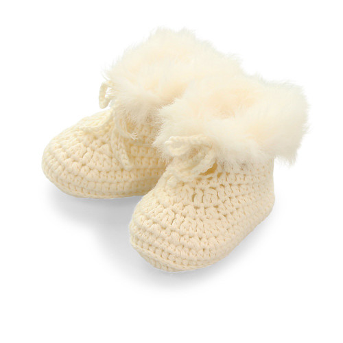 Pookie Cotton Faux Fur Bootees - Ivory