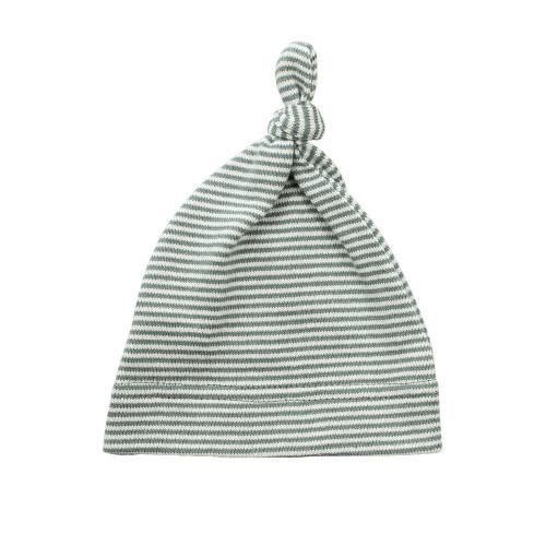 Topknot Cotton Stripe Baby Hat - Sage