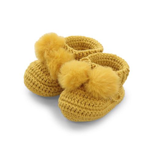 Topsy Faux Fur Pom Pom Bootees - Mustard