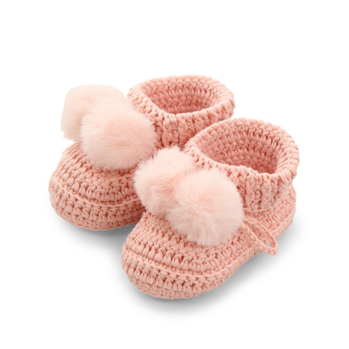 Topsy Faux Fur Pom Pom Bootees - Pink