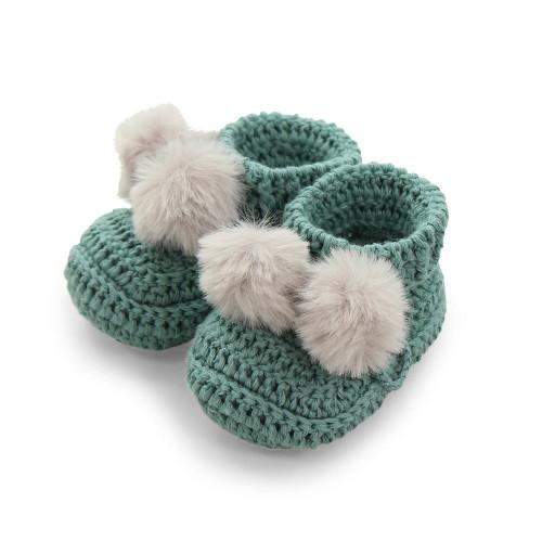 Topsy Faux Fur Pom Pom Bootees - Sage