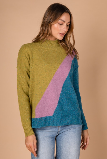 Block Colour Knit - Lime Combo