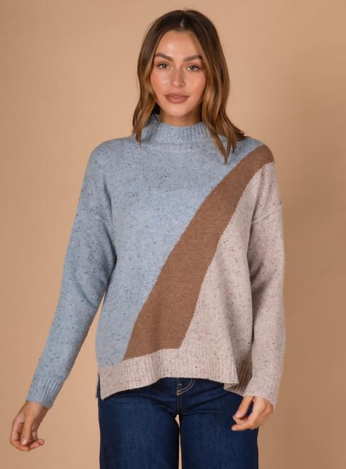 Block Colour Knit - Sky  Combo