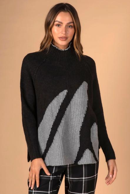 Rib Intarsia Knit - Black