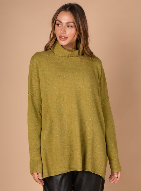 Roll-Neck Fleck Tunic - Lime