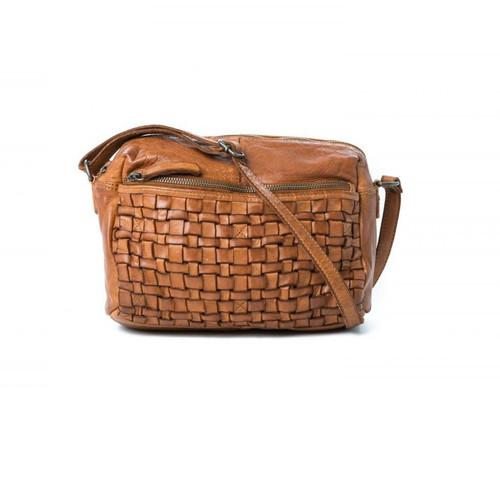 Adelaide Woven Cross Body Bag - Cognac