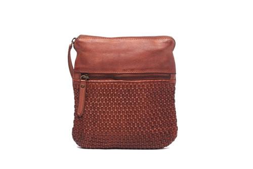 Teagan 100% Leather Shoulder Bag - Cognac