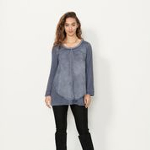 Sheer Panel Tunic With Braided Neckline - Blue