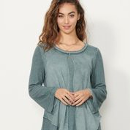Sheer Panel Tunic With Braided Neckline - Pacific Lagoon