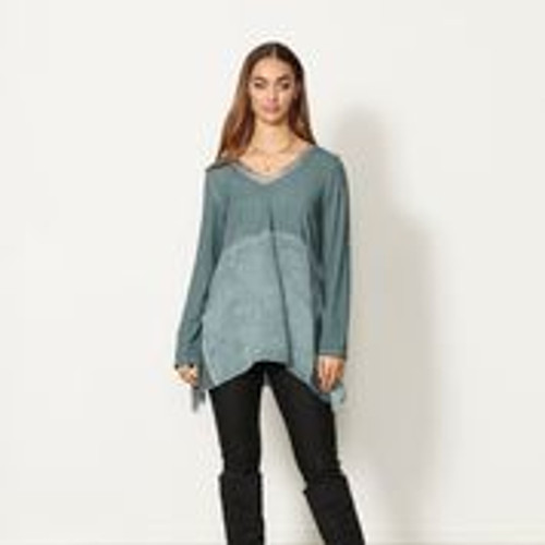 Laced Back Panel Tunic - Pacific Lagoon