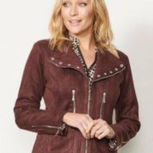 Velvet Feel Jacket With Diamonte Eyelets -  Chocolate