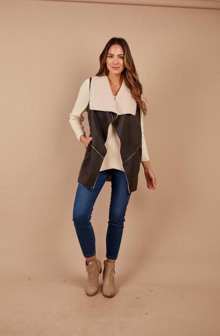 Vest Faux Sherpa w Pockets