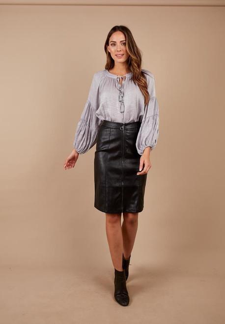 Full Front Circle Zip Skirt PU
