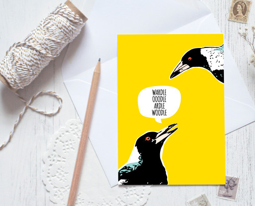 Greeting Card - Magpie Talk
