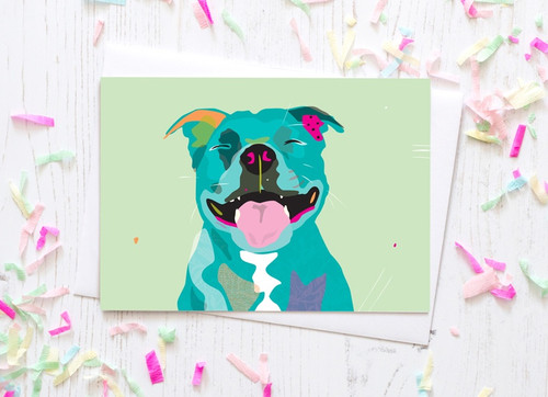 Greeting Card - Happy Staffy