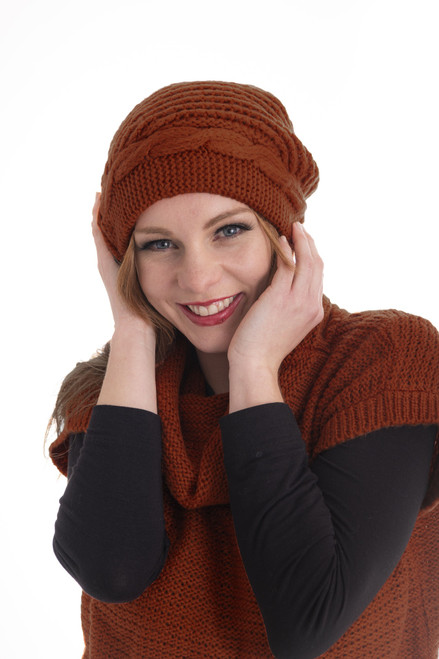 Button Beanie - Rust