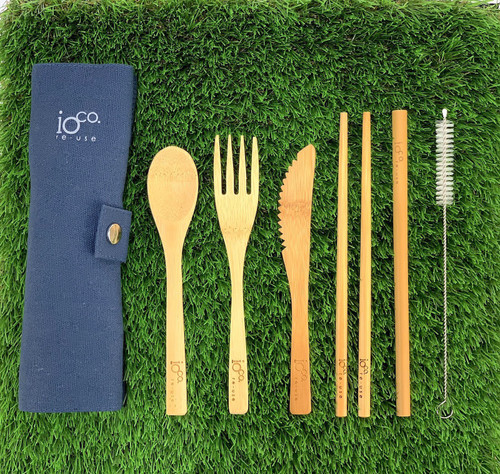 Bamboo Cutlery Set - Navy