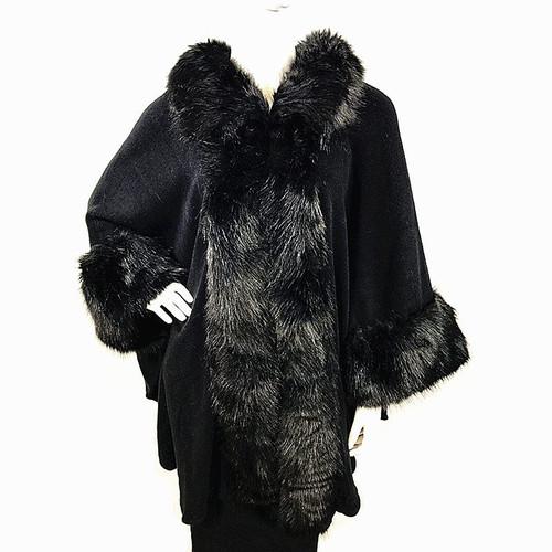 Cape Faux Fur Trim One Size-Black