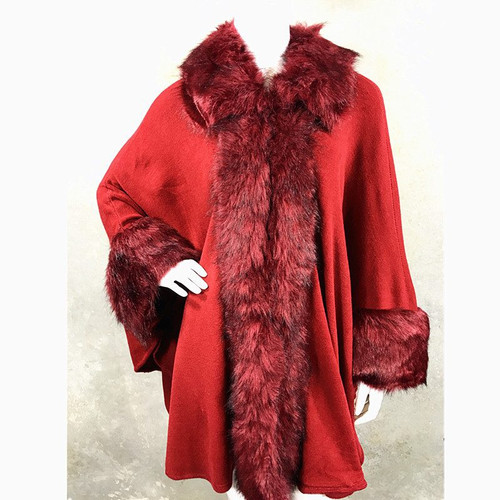 Cape Faux Fur Trim One Size-Burgundy