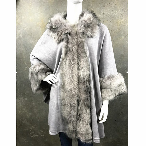 Cape Faux Fur Trim One Size-Grey