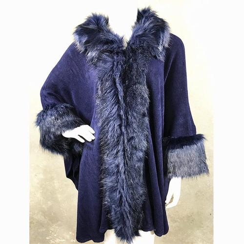 Cape Faux Fur Trim One Size-Navy