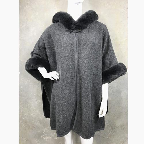Luxury Cape Faux Fur Hood & Cuff Trim - Dark Grey