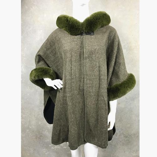Luxury Cape Faux Fur Hood & Cuff Trim - Green