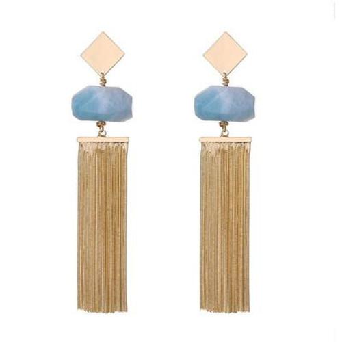 Anna Semi-Precious Natural Stone Tassel Earrings - Ice Blue